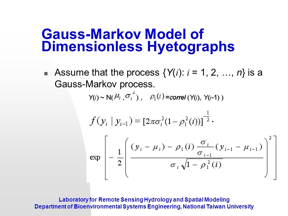 Gauss-Markov Model of Dimensionless Hyetographs