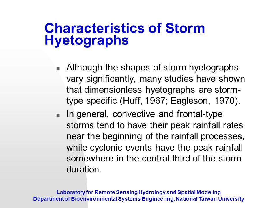 Characteristics of Storm Hyetographs