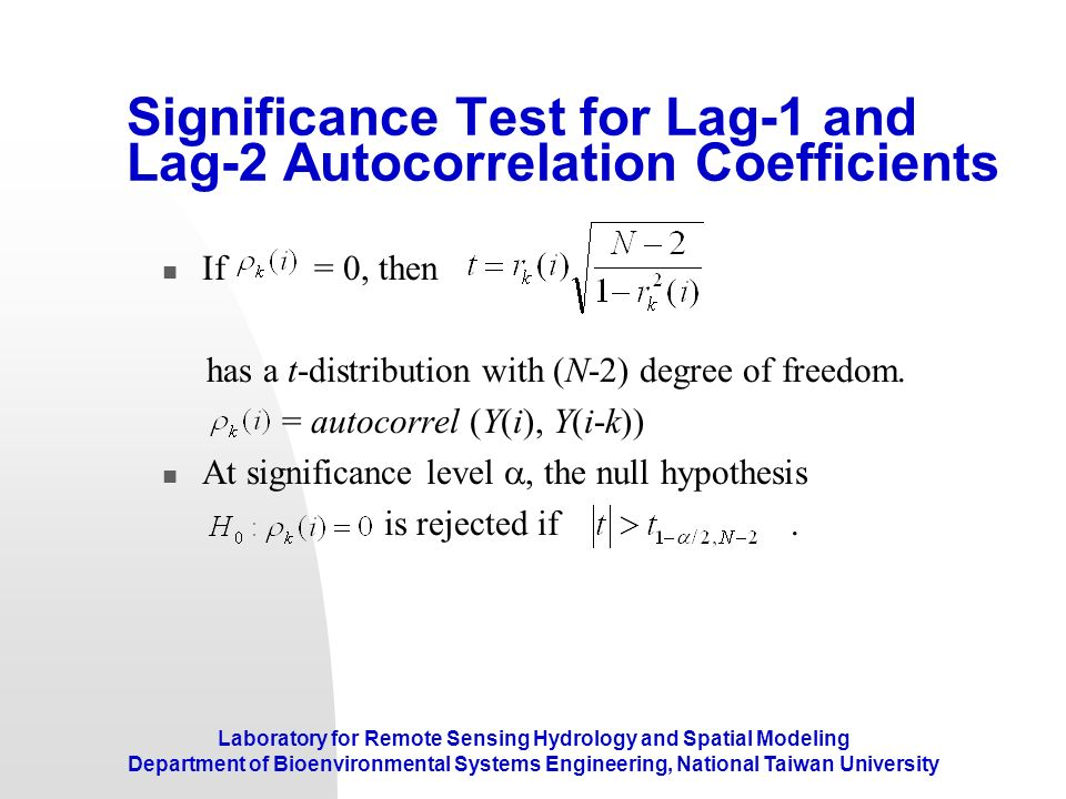 Significance Test for Lag-1 and Lag-2 Autocorrelation Coefficients