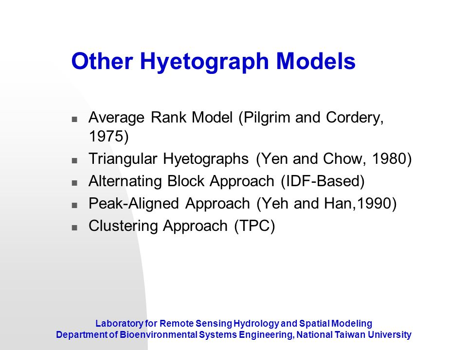 Other Hyetograph Models