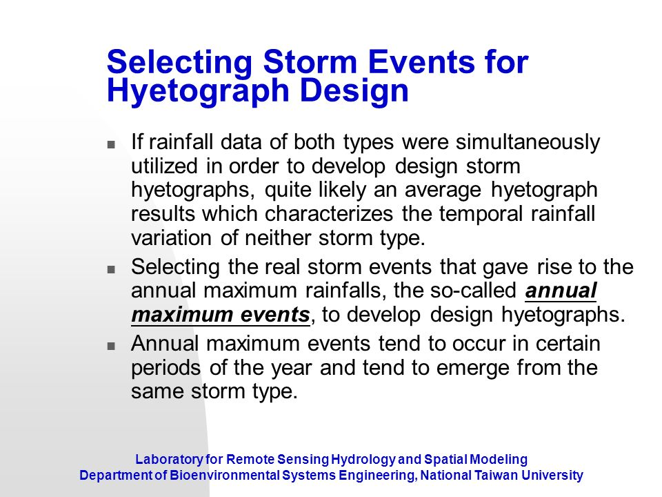Selecting Storm Events for Hyetograph Design