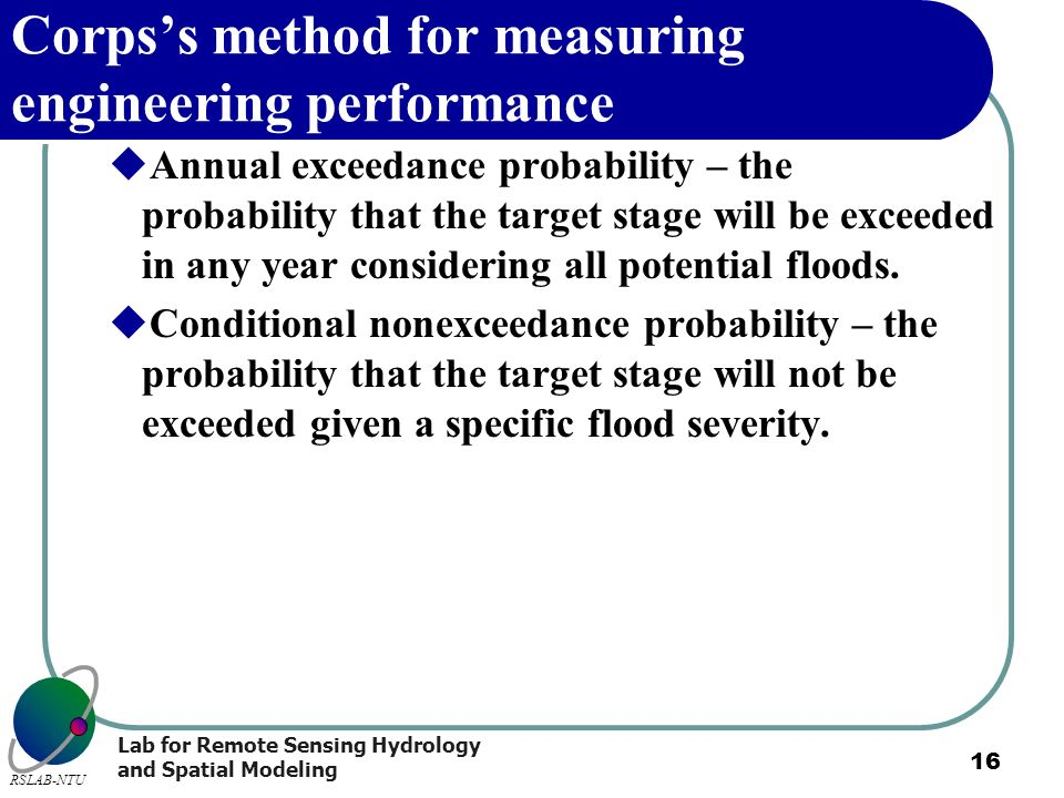 Corps's method for measuring engineering performance