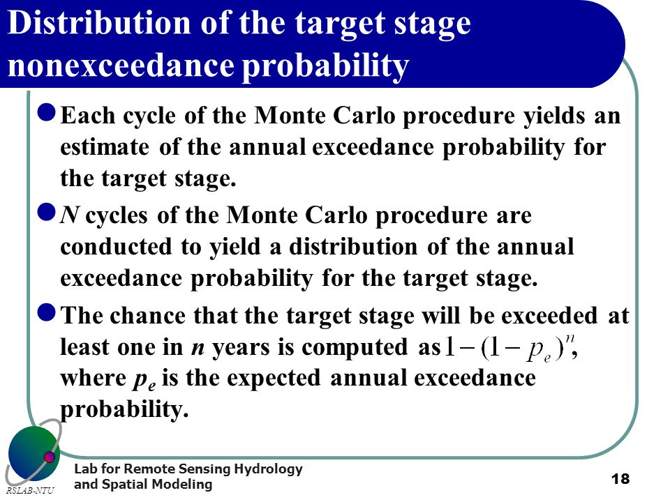 Distribution of the target stage nonexceedance probability