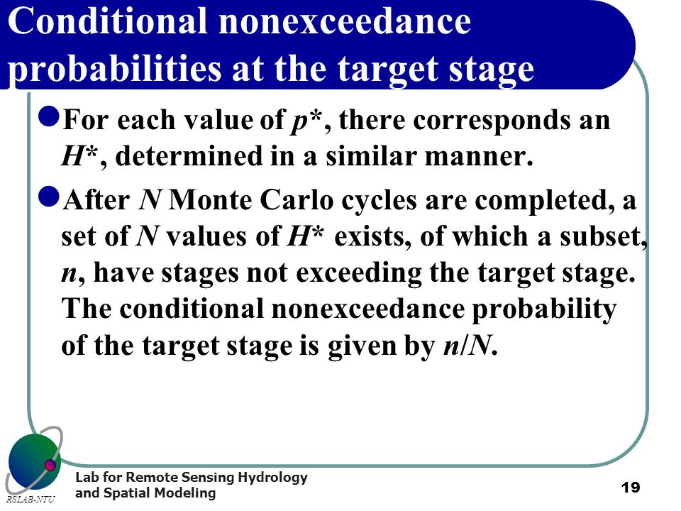 Conditional nonexceedance probabilities at the target stage