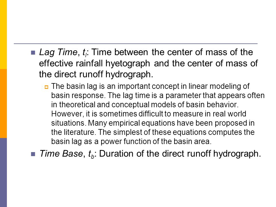 Time Base, tb: Duration of the direct runoff hydrograph.