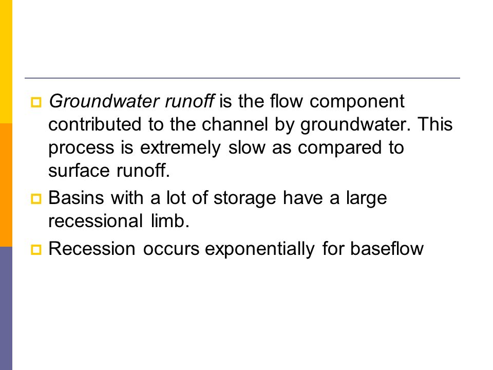 Groundwater runoff is the flow component contributed to the channel by groundwater. This process is extremely slow as compared to surface runoff.