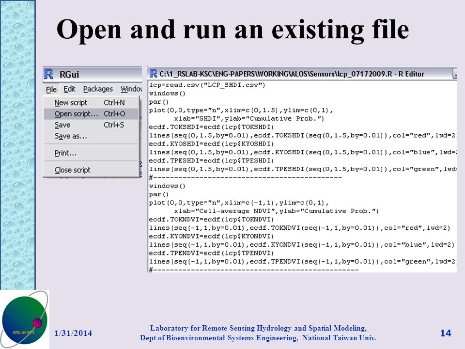 Open and run an existing file