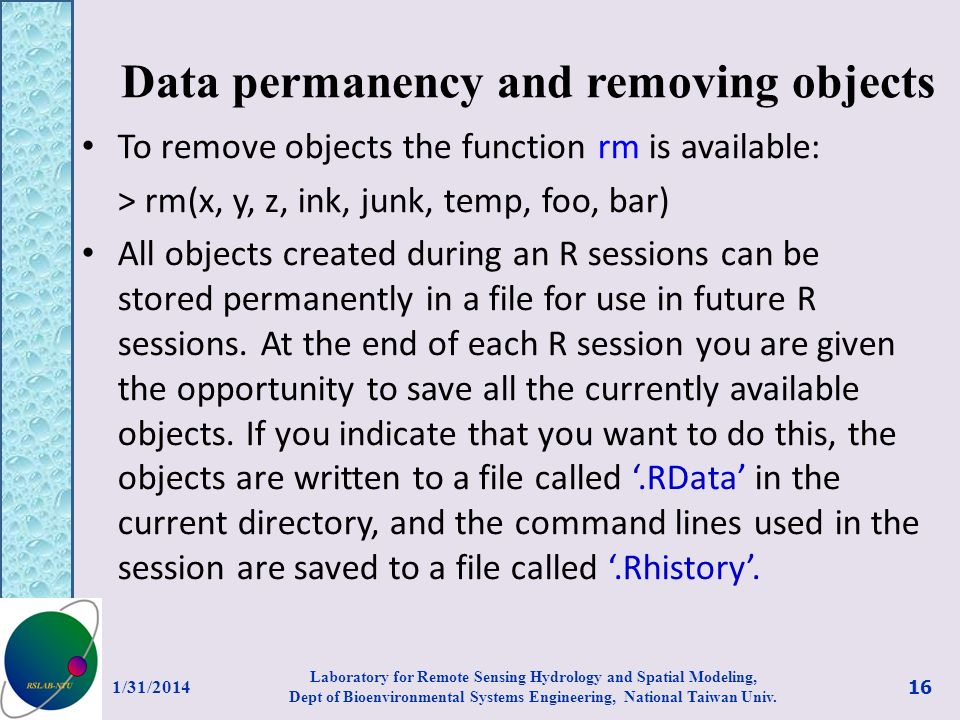 Data permanency and removing objects