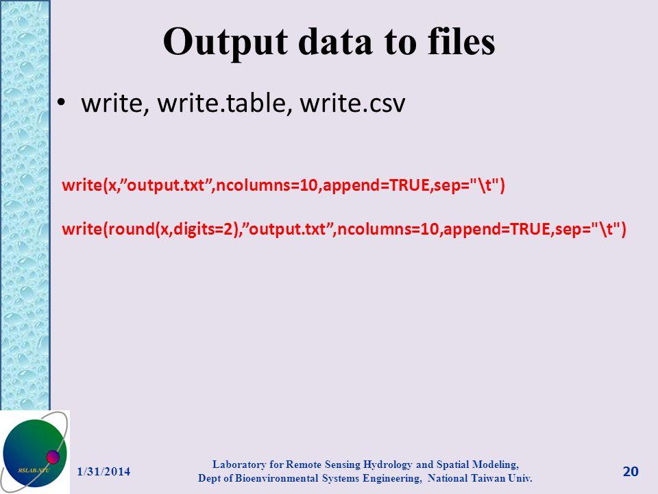 Output data to files write, write.table, write.csv