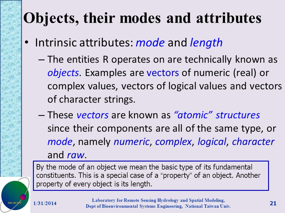 Objects, their modes and attributes