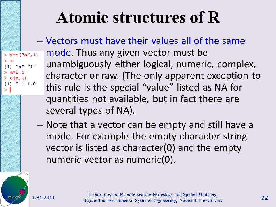 Atomic structures of R