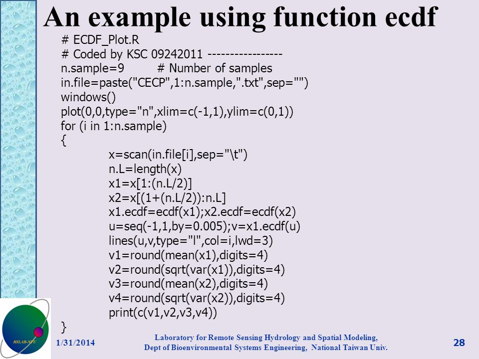 An example using function ecdf