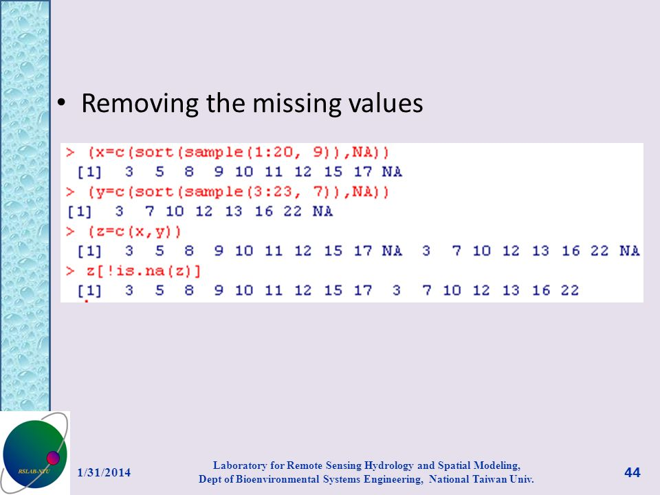 Removing the missing values
