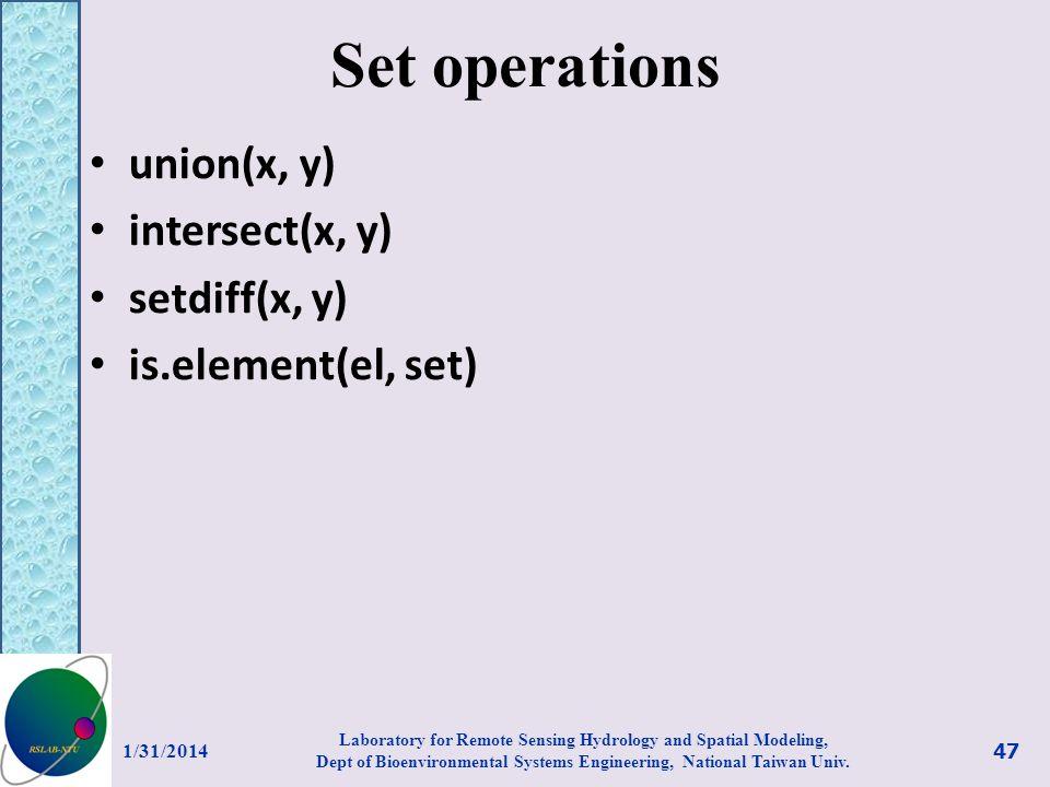 Set operations union(x, y) intersect(x, y) setdiff(x, y)