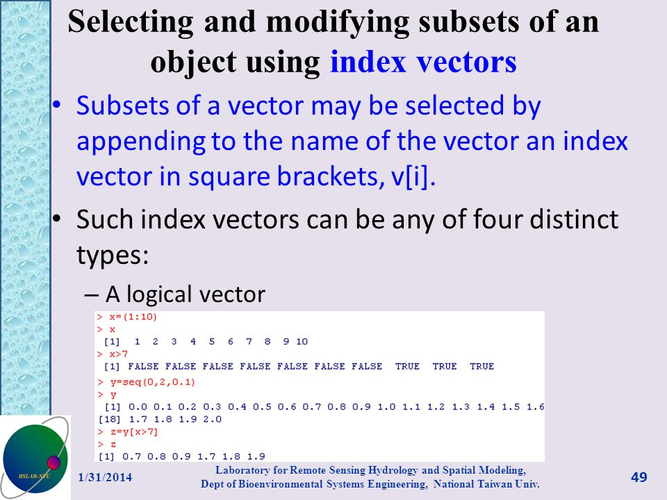 Selecting and modifying subsets of an object using index vectors