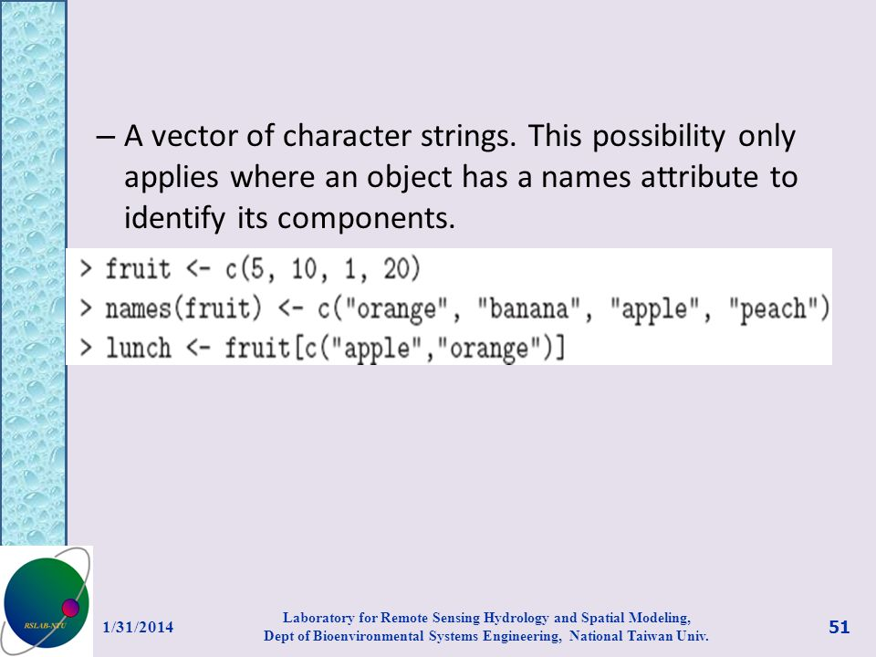 A vector of character strings