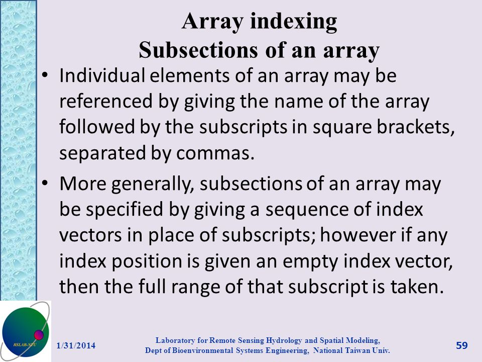 Array indexing Subsections of an array