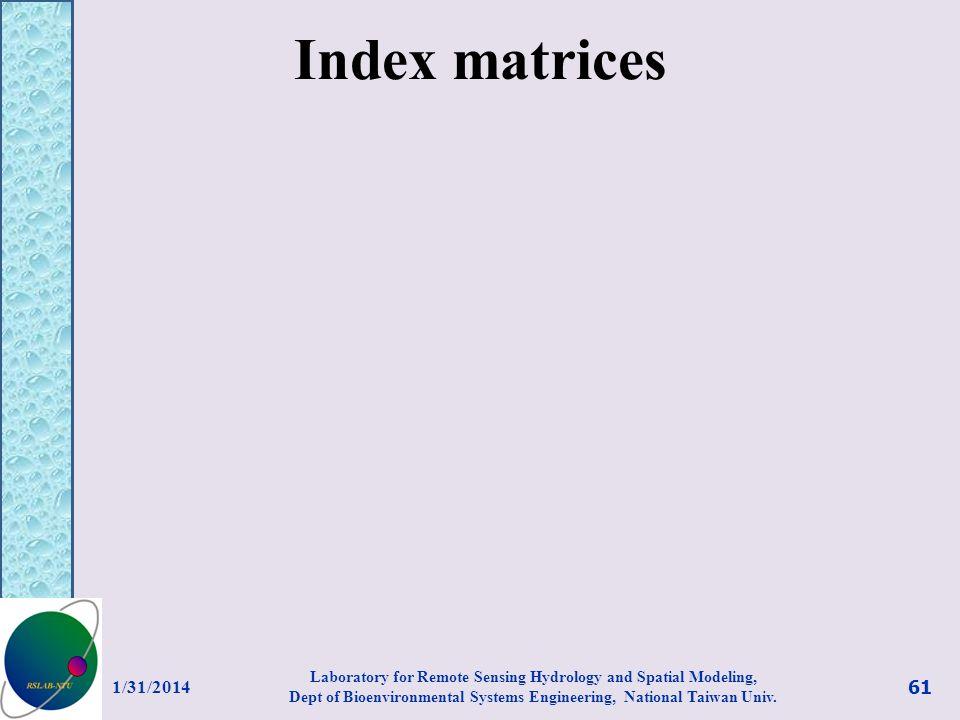 Index matrices 3/27/2017.