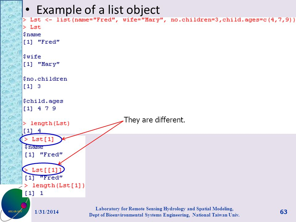 Example of a list object