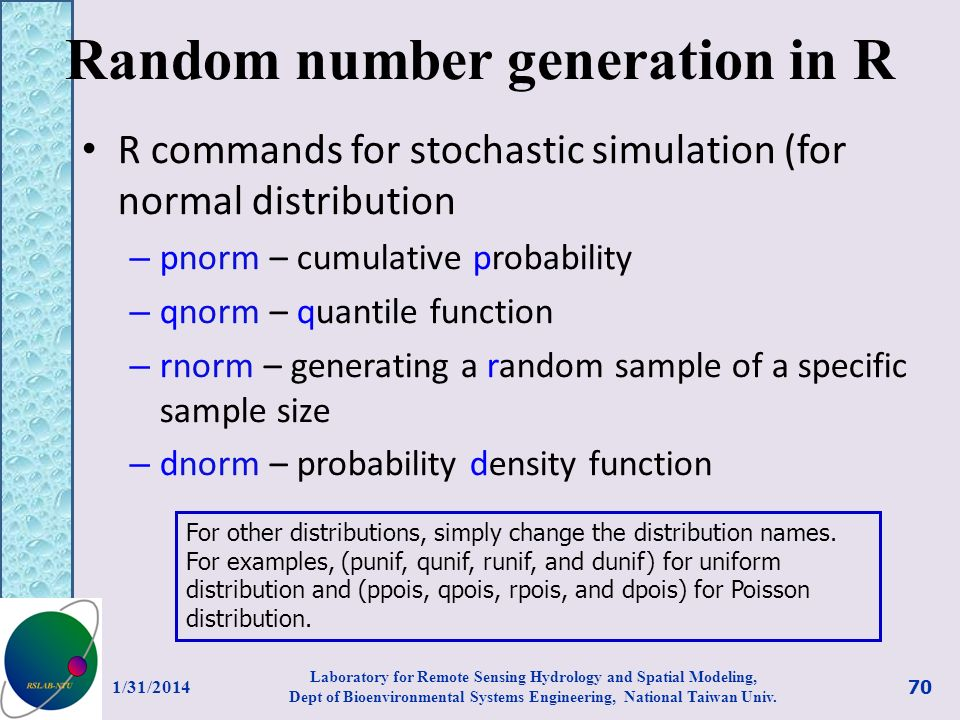 Random number generation in R