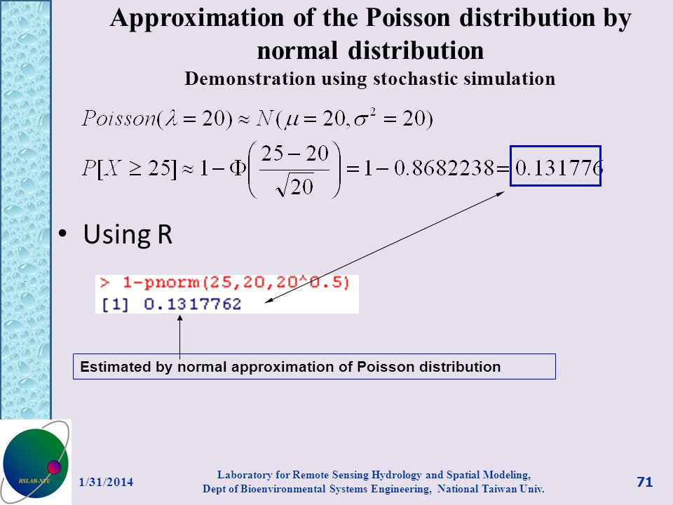 Approximation of the Poisson distribution by normal distribution Demonstration using stochastic simulation