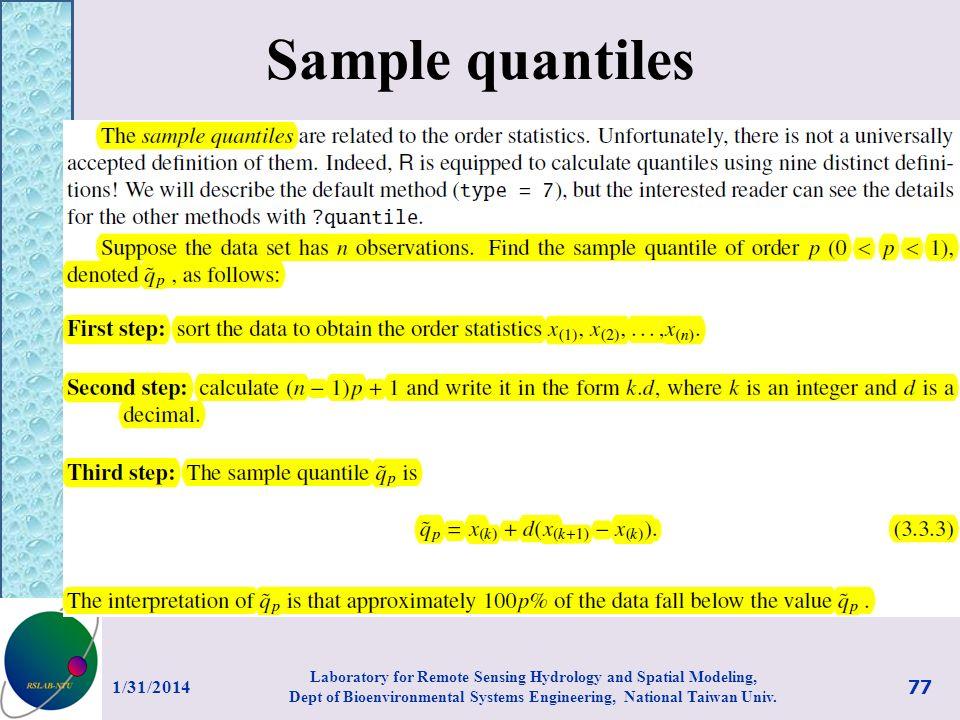 Sample quantiles 3/27/2017.