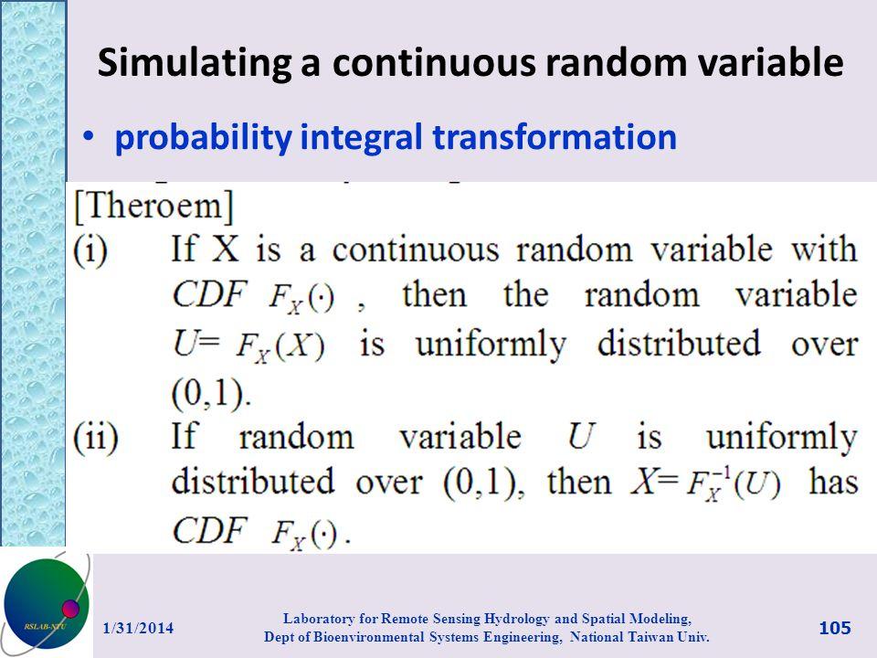 Simulating a continuous random variable