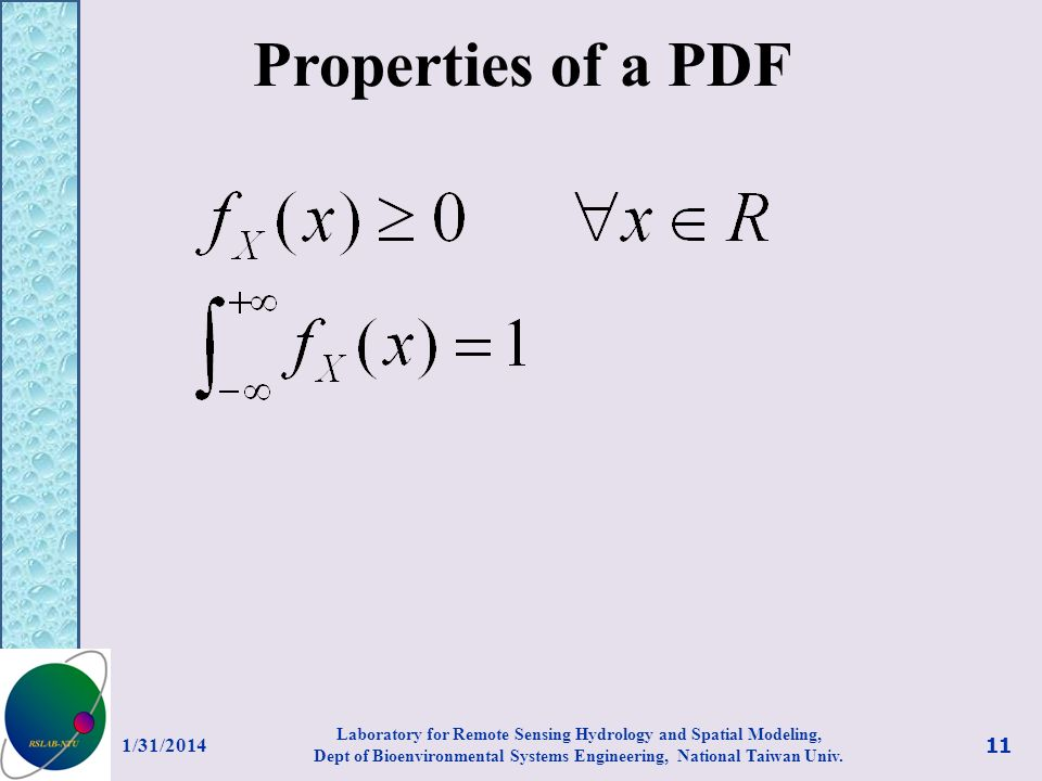 Properties of a PDF 3/27/2017.