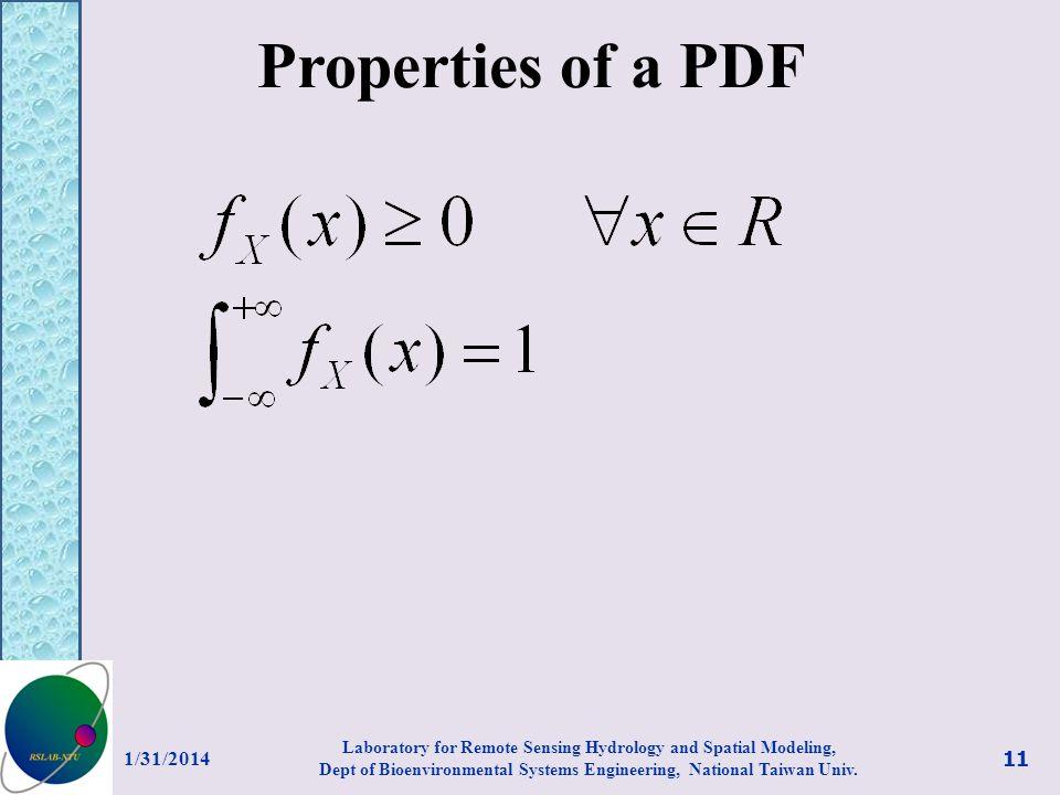 Properties of a PDF 3/27/2017.