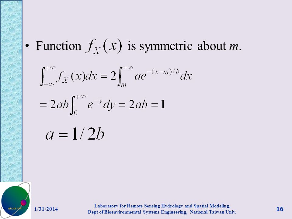 Function is symmetric about m.