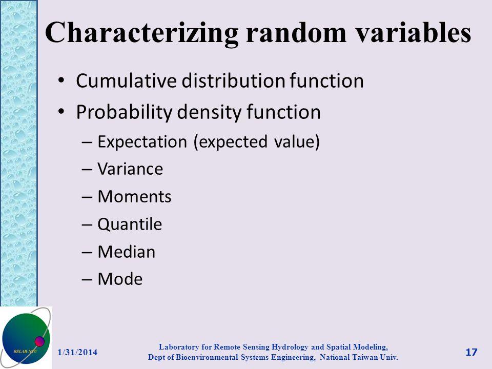 Characterizing random variables