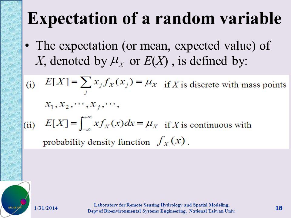 Expectation of a random variable