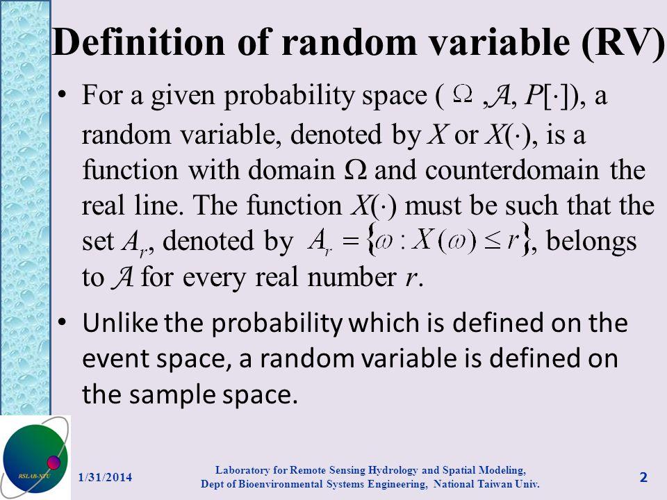 Definition of random variable (RV)