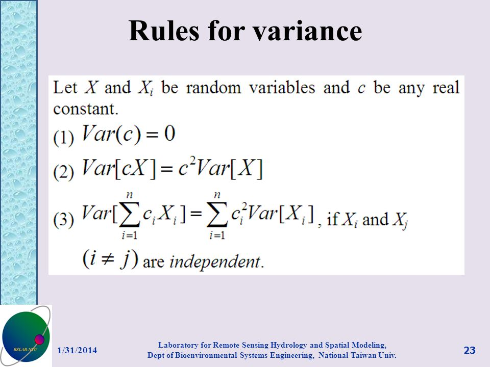 Rules for variance 3/27/2017.