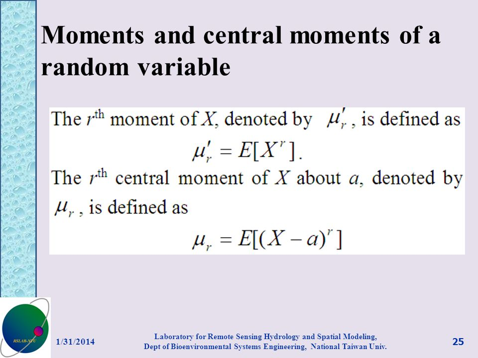 Moments and central moments of a random variable