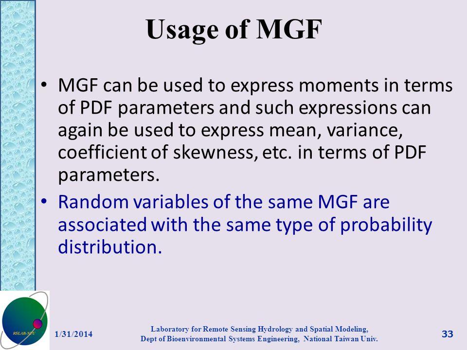 Usage of MGF