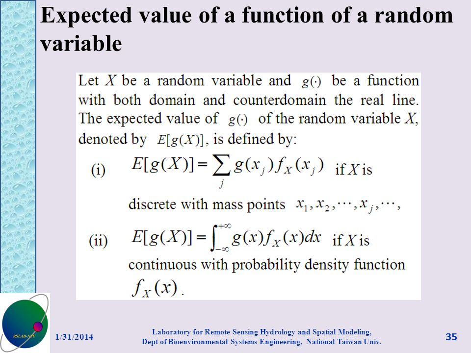Expected value of a function of a random variable