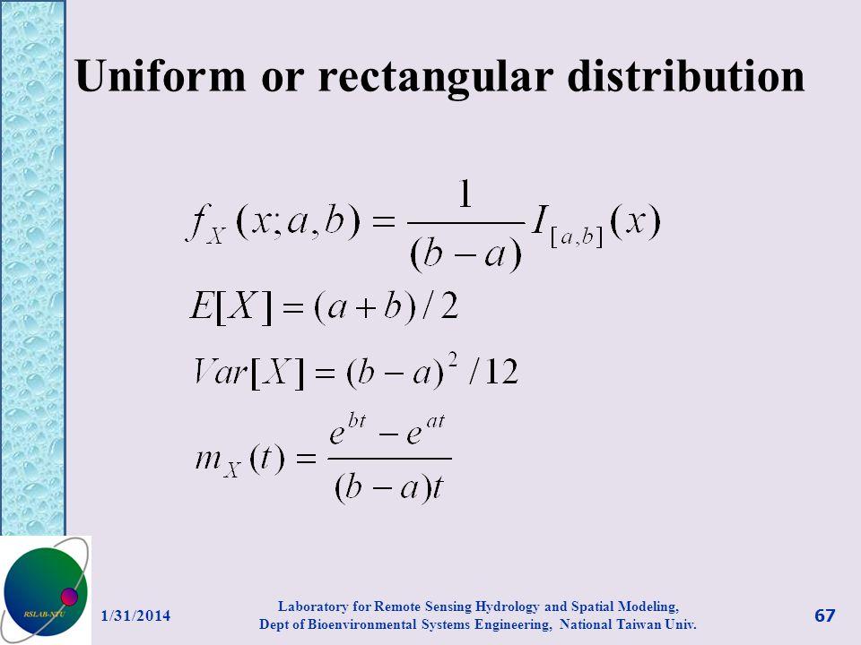 Uniform or rectangular distribution
