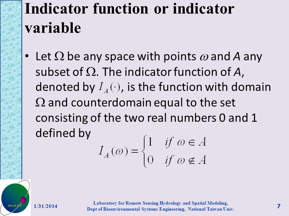 Indicator function or indicator variable