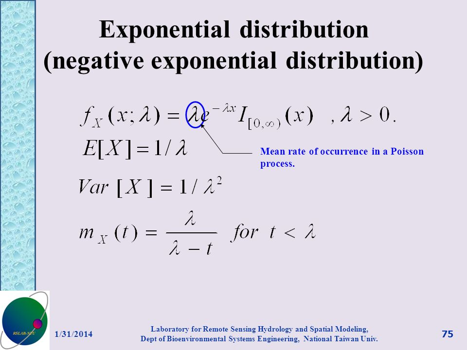 Exponential distribution (negative exponential distribution)