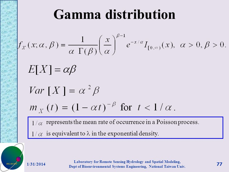 Gamma distribution represents the mean rate of occurrence in a Poisson process. is equivalent to  in the exponential density.