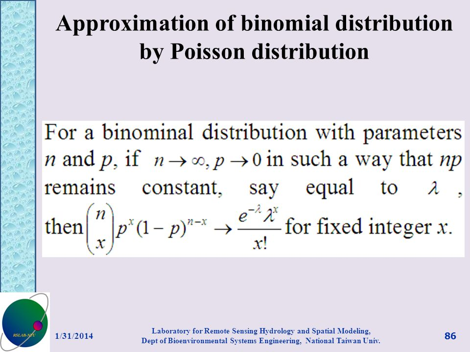 Approximation of binomial distribution by Poisson distribution