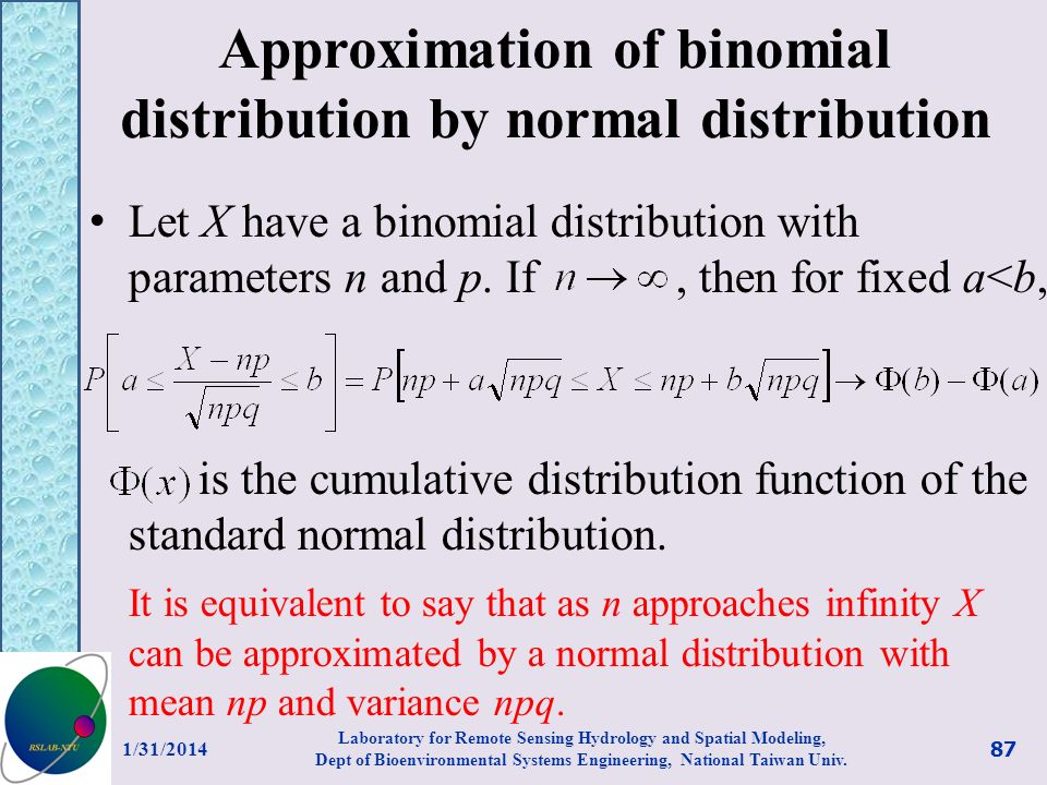 Approximation of binomial distribution by normal distribution