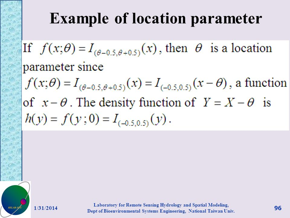 Example of location parameter