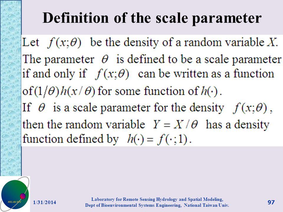 Definition of the scale parameter