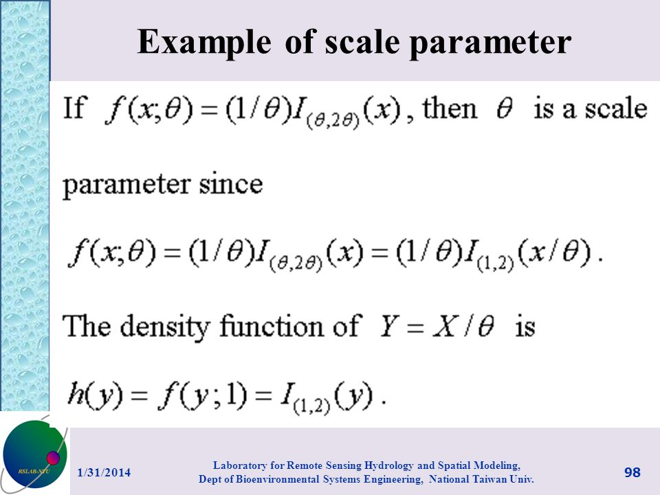 Example of scale parameter