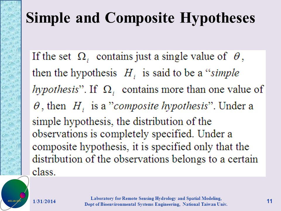 Simple and Composite Hypotheses