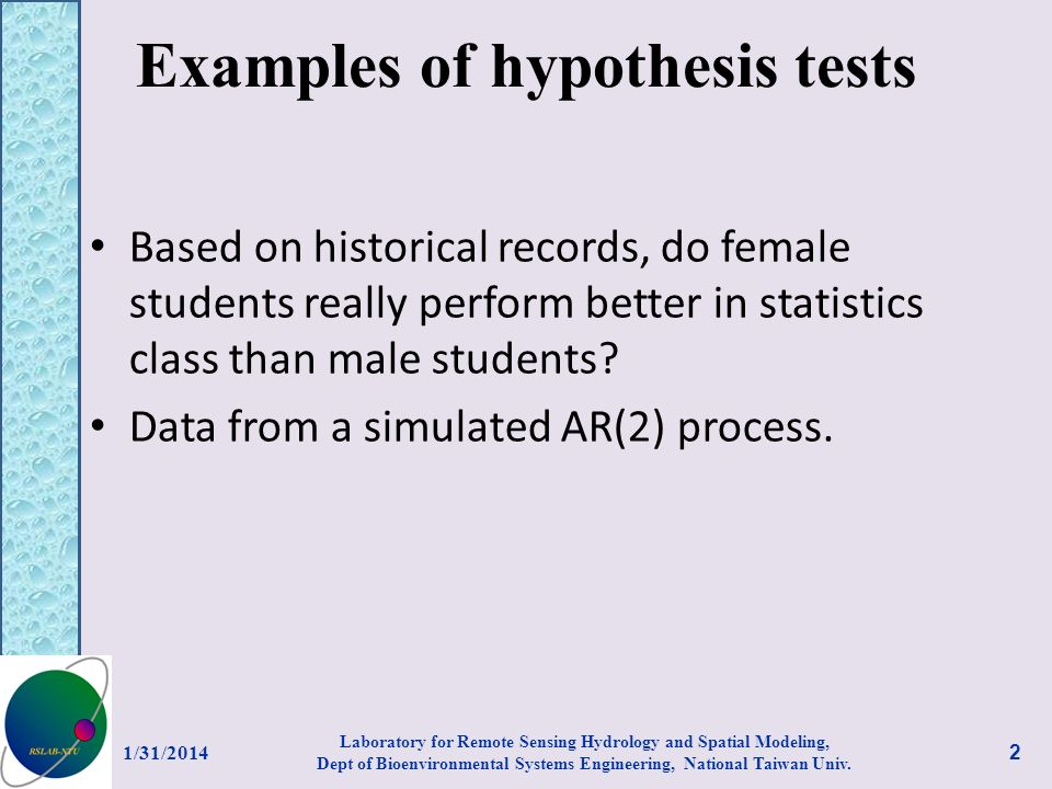 Examples of hypothesis tests