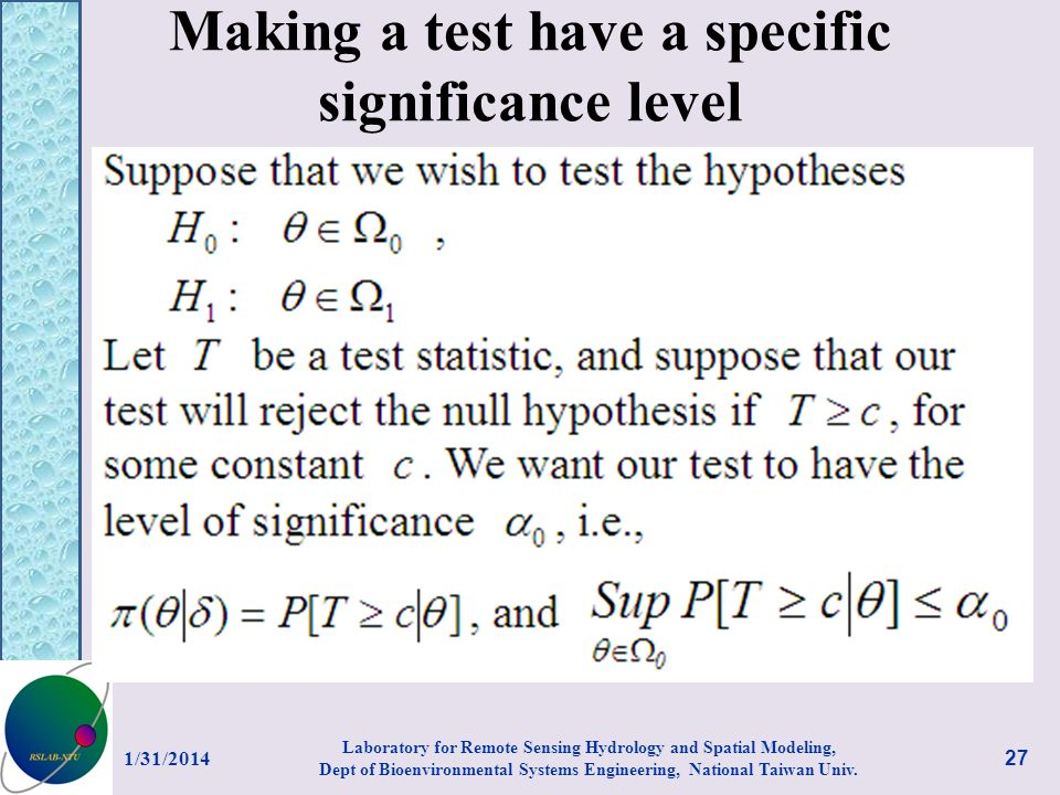 Making a test have a specific significance level