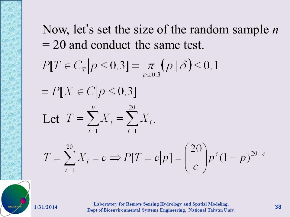Now, let's set the size of the random sample n = 20 and conduct the same test.